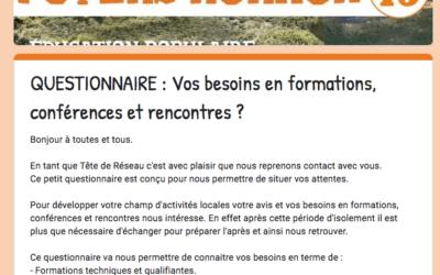 """QUESTIONNAIRE """"Vos BESOINS en FORMATIONS – CONFÉRENCES & RENCONTRES INTERVILLAGES"""""""
